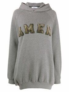 Amen embellished logo hoodie - Grey