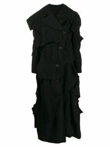 Yohji Yamamoto stitched panel coat - Black