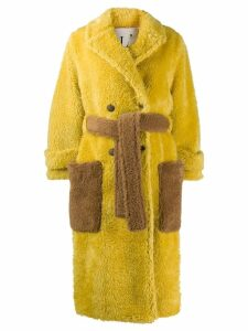 L'Autre Chose belted faux-fur coat - Yellow