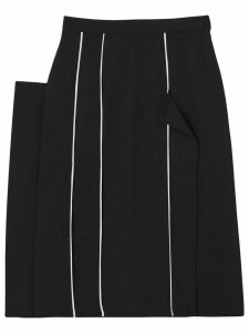 Burberry Piping Detail Stretch Wool Crepe Skirt - Black
