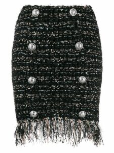 Balmain tweed button-embellished skirt - Black