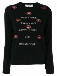 Valentino embroidered lips slogan jumper - Black