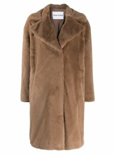 Stand faux fur coat - Neutrals
