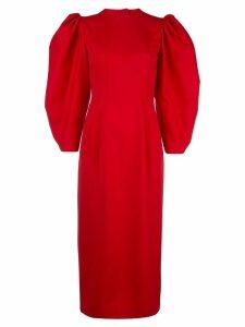 Sara Battaglia open-back midi dress - Red