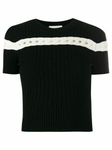 Alexander McQueen striped ribbed-knit top - Black