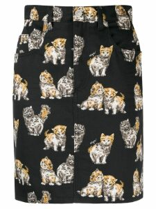 MSGM kitten pattern denim skirt - Black