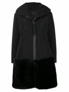 Emporio Armani faux fur hem shell coat - Black