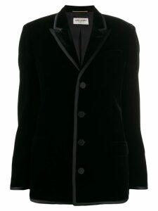 Saint Laurent velvet shoulder pads blazer - Black