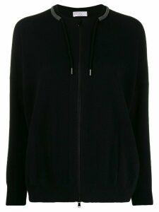 Brunello Cucinelli zipped drawstring cardigan - Black
