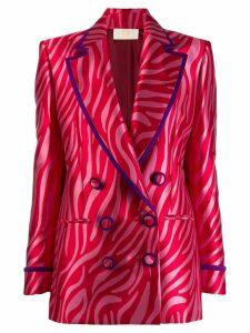 Sara Battaglia zebra jacquard blazer - Pink