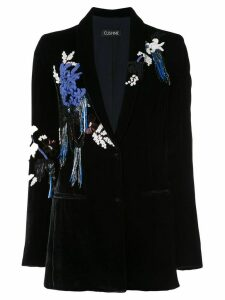 Cushnie velvet embroidered blazer - Blue
