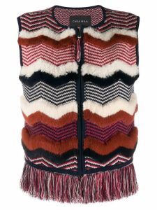 Cara Mila Nellie knitted shearling gilet - Neutrals