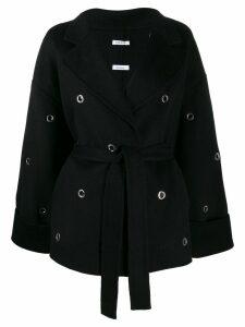 P.A.R.O.S.H. belted eyelet-embellished coat - Black