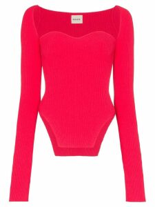 Khaite Maddy bustier ribbed top - Pink