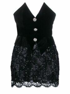 Alessandra Rich off-shoulder mini dress - Black