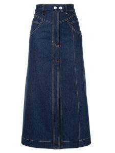 Ellery Traffic panelled denim skirt - Blue