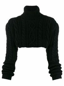 Andrea Ya'aqov cable knit cropped jumper - Black