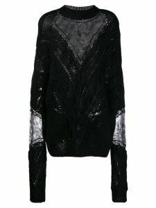 Almaz panelled cable knit jumper - Black