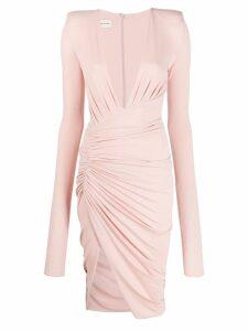 Alexandre Vauthier v-neck draped dress - Pink
