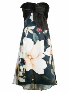 Marchesa Notte draped floral-print corset dress - Blue