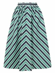 Fendi striped flared midi skirt - Blue