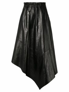 Proenza Schouler Asymmetrical Shiny Leather Mid Skirt - Black