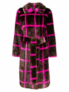 Stand printed faux fur coat - Brown