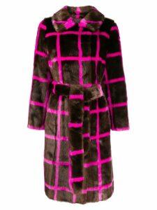 STAND STUDIO printed faux fur coat - Brown