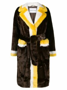 Stand fur colour-block coat - Brown
