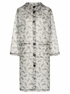HVN Tarzan hooded leopard-print coat - White
