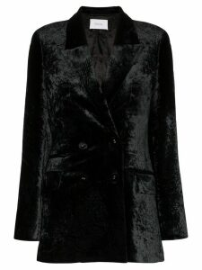 Racil Archie double-breasted velvet blazer - Black