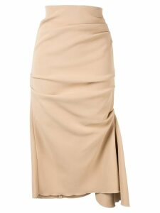 Acler Riverside ruched midi skirt - Brown