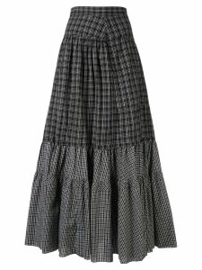 Y's checked full skirt - Black