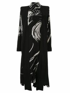Yohji Yamamoto abstract print shirt dress - Black