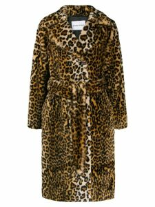 Stand belted leopard print coat - Brown