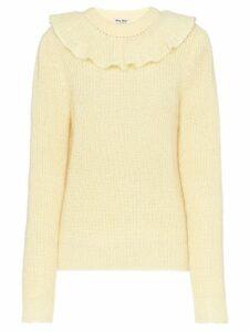Miu Miu ruffle knitted sweater - Neutrals