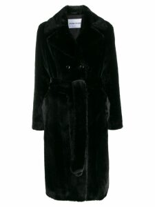 Stand double buttoned coat - Black