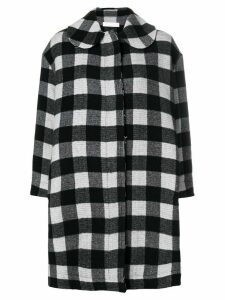 Peter Jensen raw edge check coat - Black