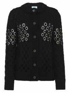 Prada embellished panel knit cardigan - Black