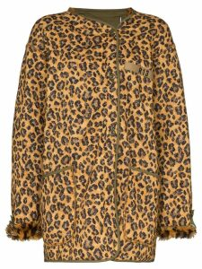 R13 leopard print double-breasted coat - Black