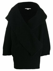 Stella McCartney wrap-front knitted cardi-coat - Black