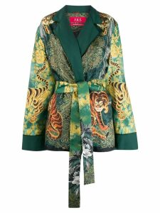 F.R.S For Restless Sleepers tiger print belted blazer - Green