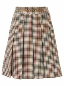 Tory Burch pleated gingham skirt - Brown