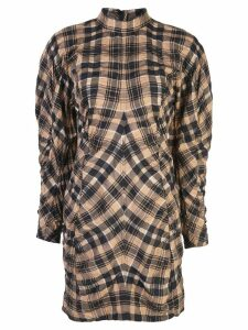 Ganni checked ruched short dress - Brown