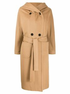 Paltò hooded double breasted coat - Brown