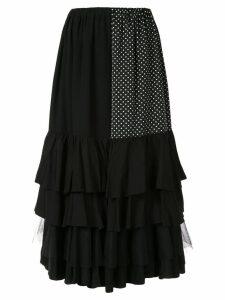 Junya Watanabe ruffled hem midi skirt - Black