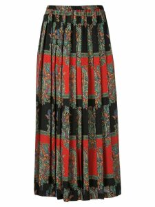 Junya Watanabe paisley print pleated skirt - Black