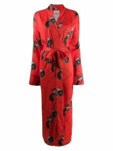 Kirin gun print kimono coat - Orange