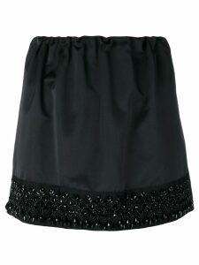 Nº21 bead embroidery mini skirt - Black