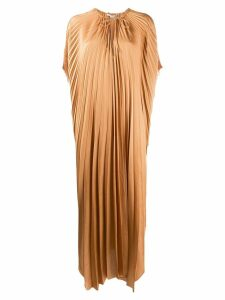 Stella McCartney cape-sleeve pleated dress - Brown